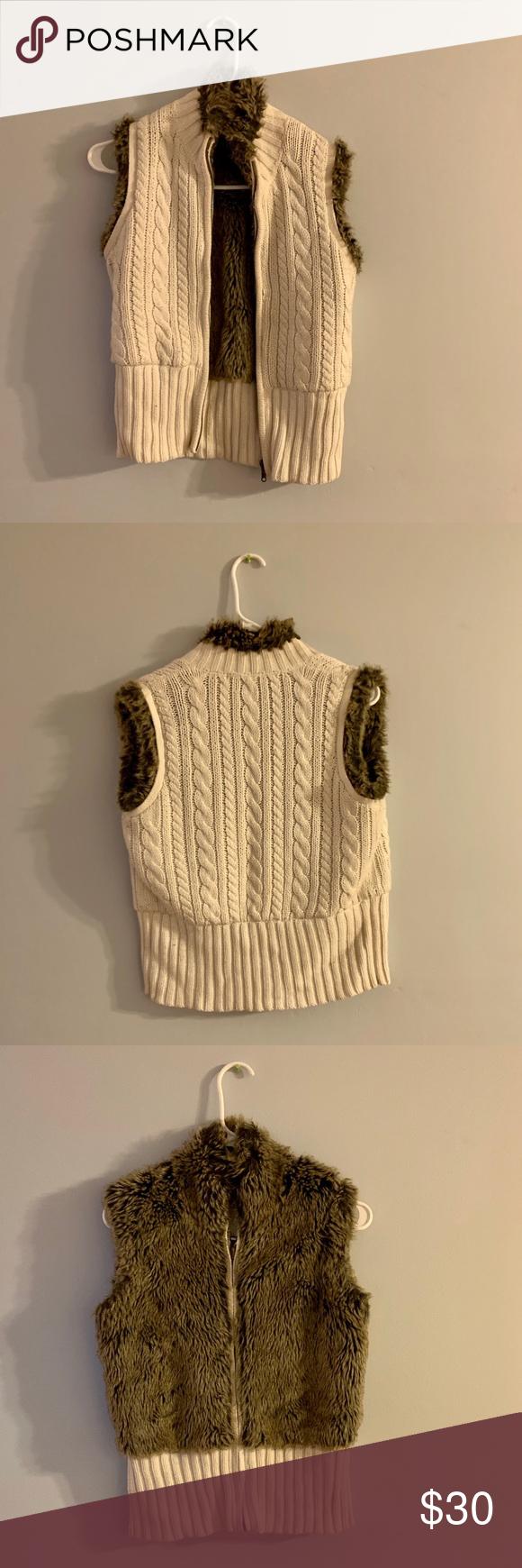 Reversible Faux Fur Cable Knit Sweater Vest Sweater Vest Cable Knit Sweaters Knitted Sweaters
