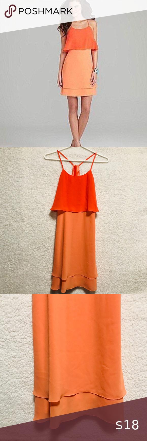 Gianni Bini Two Tone Orange Dress Gianni Bini Two Tone Color Orange Dress Racer Back Style With Spaghetti Straps Zips On T Orange Dress Dresses Perfect Dress [ 1740 x 580 Pixel ]