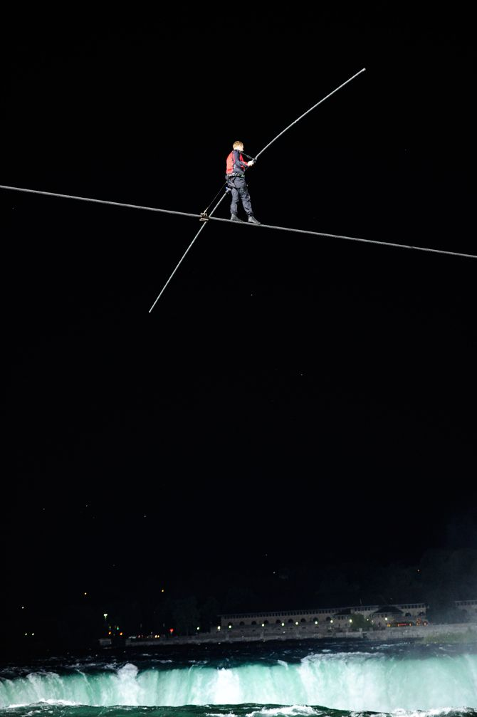 Nik Wallenda crossing the Falls 6-15-12. Click for more great pics + video. (photo by Kevin and Dawn Cobello/K Action Photo)