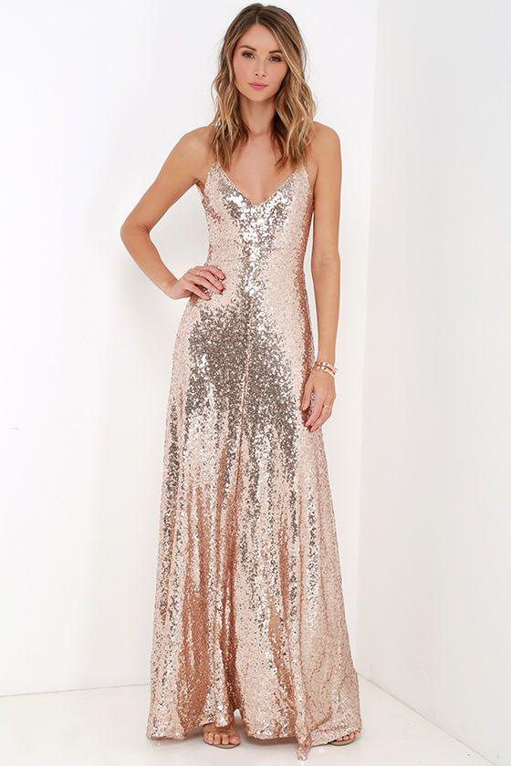 Slink and Wink Matte Rose Gold Sequin Maxi Dress | Gold sequin ...