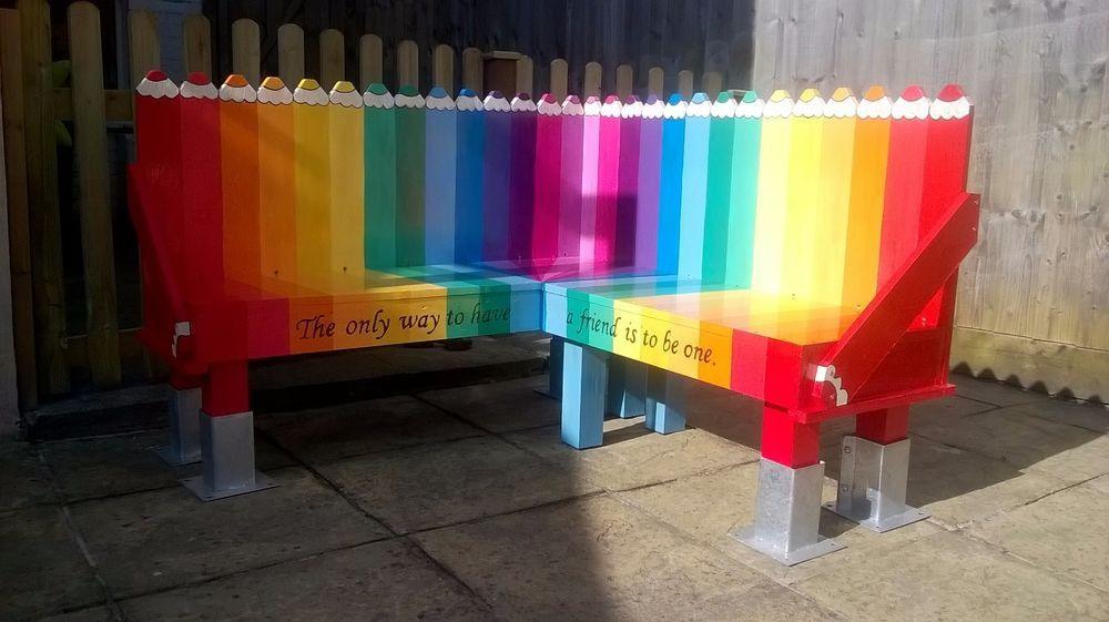 Bench - Rainbow Pencils design - Buddy Bench, Nursery/Play