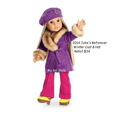 American Girl Doll Beforever Julie\'s Winter Coat & Hat | Clothing By ...