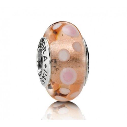LY3838 Pandora Pink Bubble Murano Glass Charm