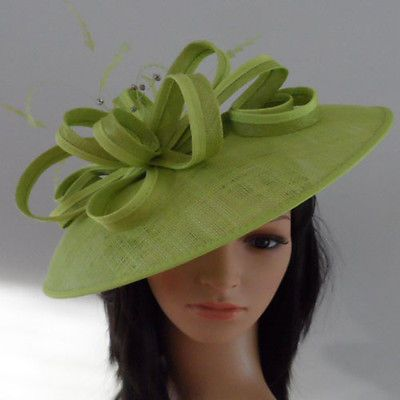 FAILSWORTH LIME GREEN WEDDING ASCOT HAT DISC FASCINATOR MOTHER OF THE BRIDE ec37b1a83d2