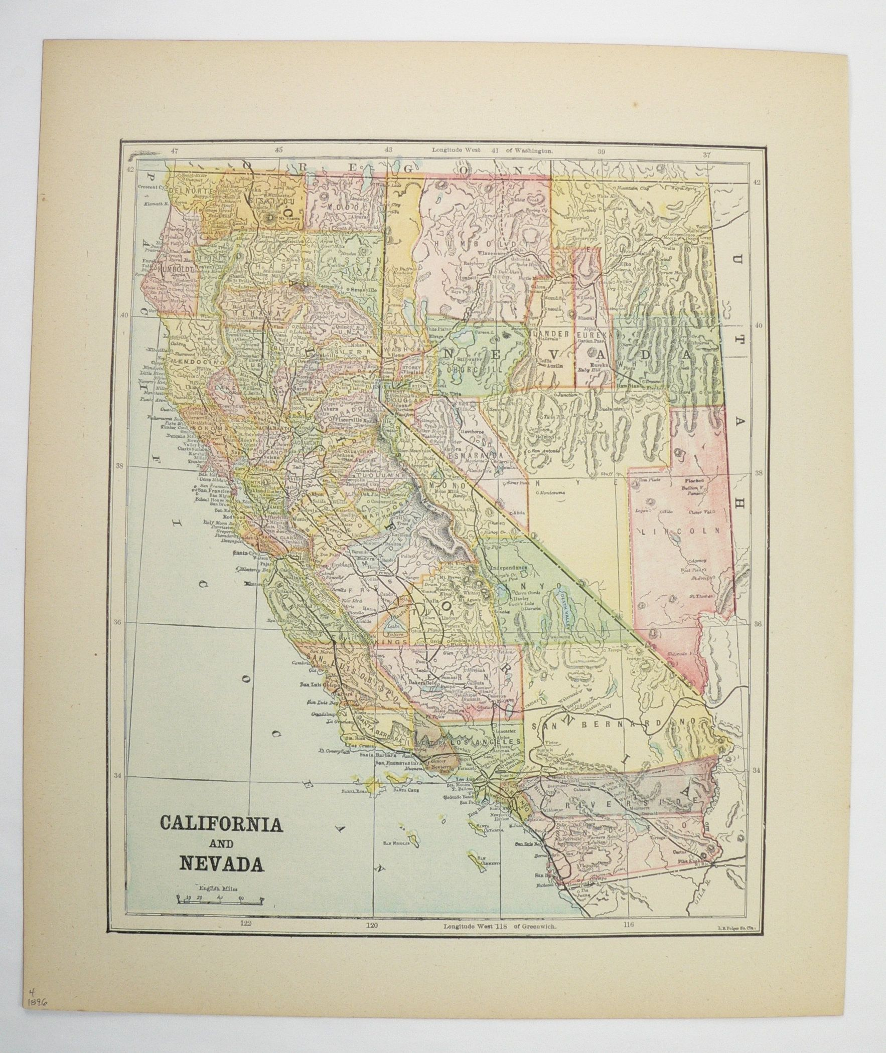 Vintage California Map 1896 Antique Map of California ...