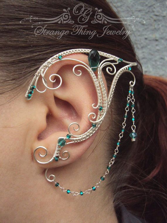 Pair of elven ear cuffs Emerald Love  dfb4b6858f