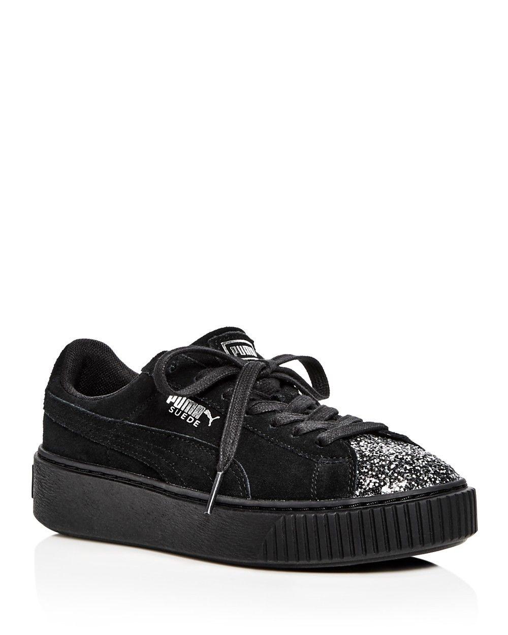 46ac93929785 PUMA PUMA Women s Crushed Gem Suede Lace Up Platform Sneakers.  puma  shoes