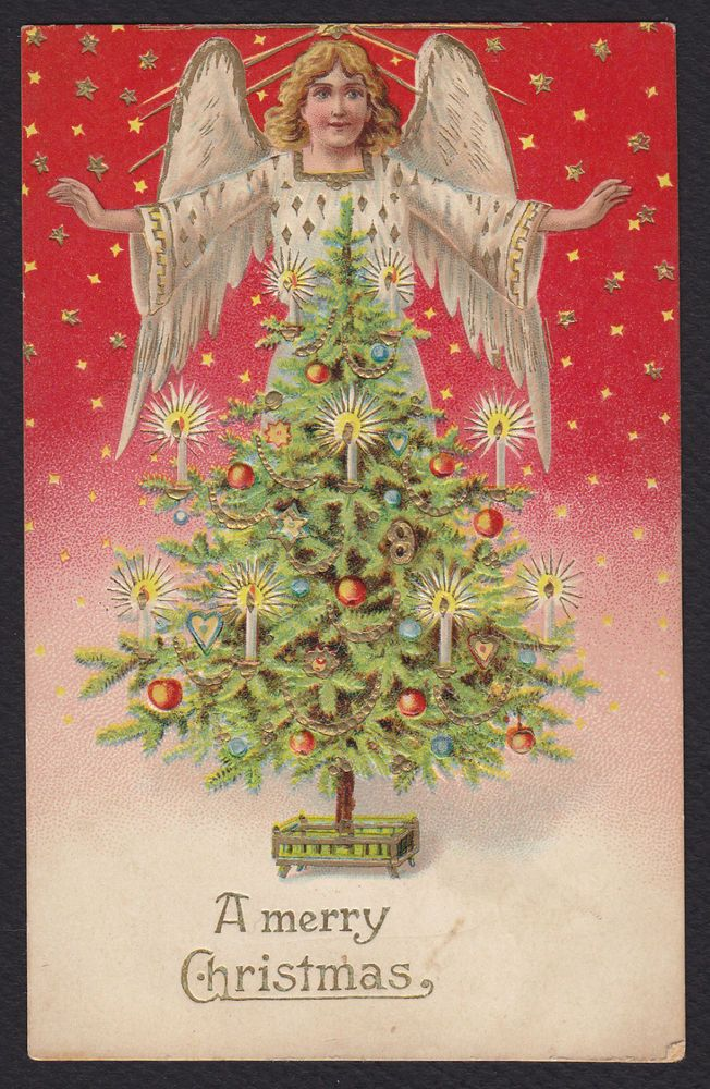 Christmas-Angel-Decorated Tree-Stars-Gold-Embossed Antique Postcard #Christmas