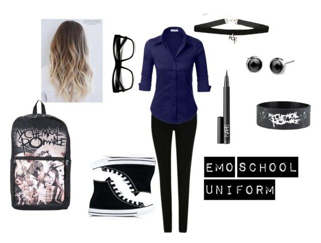 """""""Emo School Uniform"""" by mcr-fob-patd ❤ liked on Polyvore featuring George, LE3NO, Converse, ZeroUV and NARS Cosmetics"""