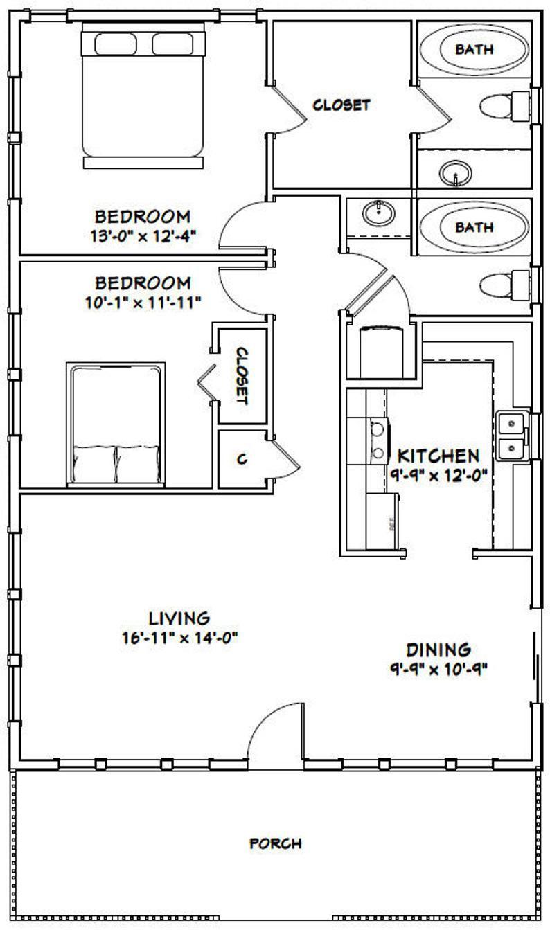 28x40 House 2 Bedroom 2 Bath 1120 Sq Ft Pdf Floor Etsy In 2021 Small House Floor Plans Floor Plans Small House Plans