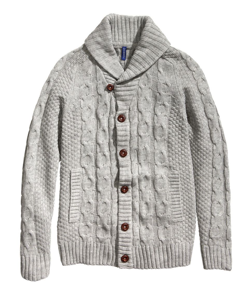 Soft gray cable-knit cardigan with wool content, shawl collar, and ...