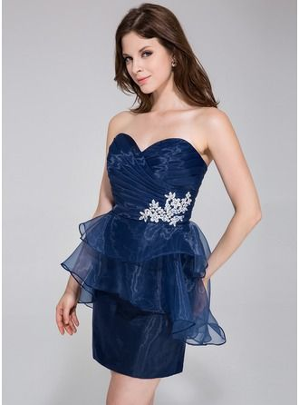 Sheath/Column Sweetheart Short/Mini Organza Cocktail Dress With Beading Appliques Lace Cascading Ruffles
