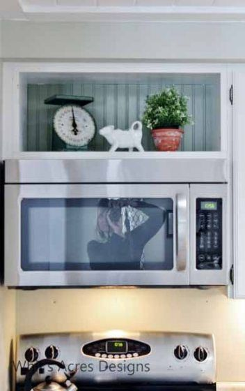 Open display shelves above microwave in 2019 | Kitchen ...