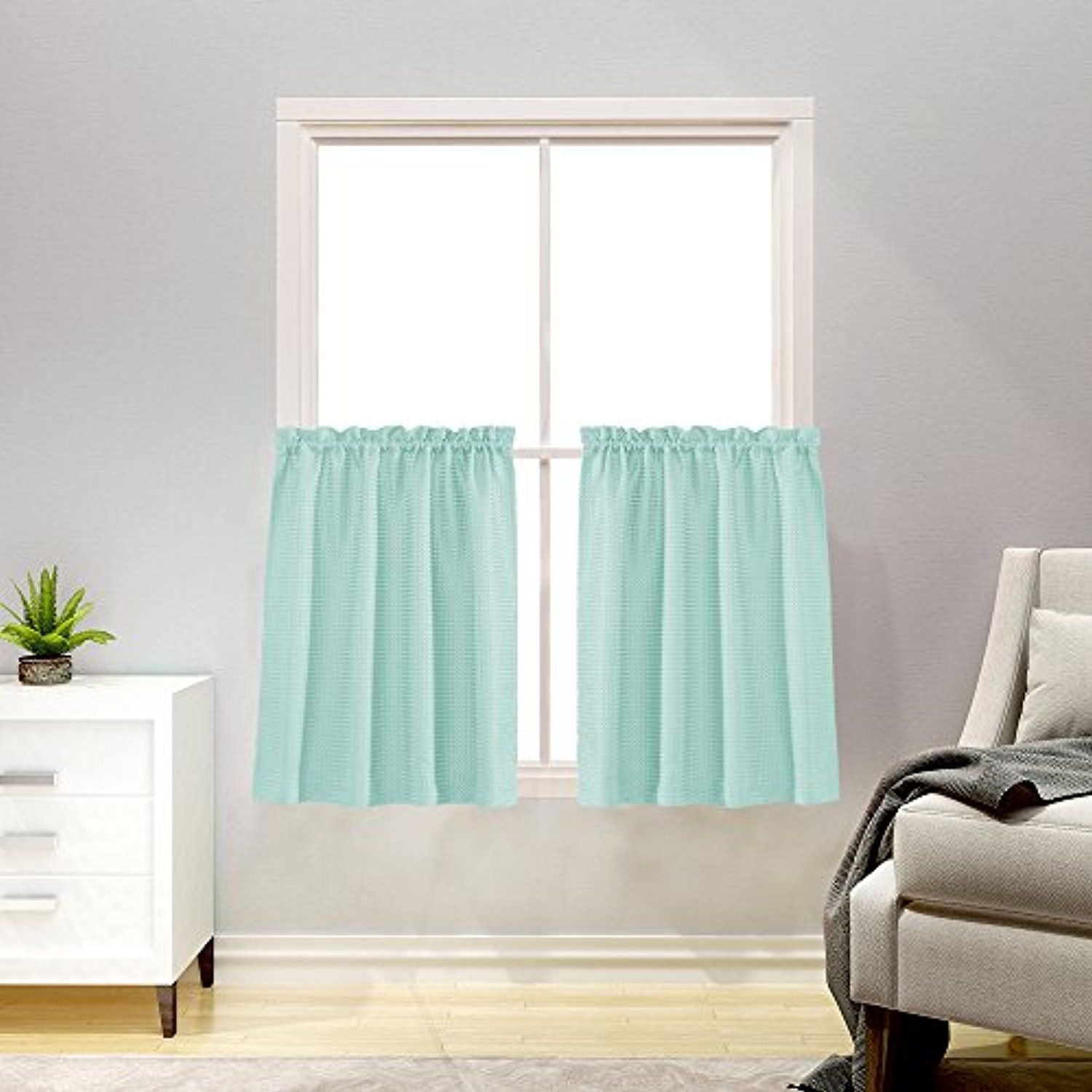 Short Curtains for Kitchen 36 inch Length Water Repellent Window ...