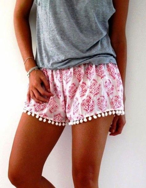 Bright Pink Patterned Pom Pom Shorts - 1970s inspired shorts with ...