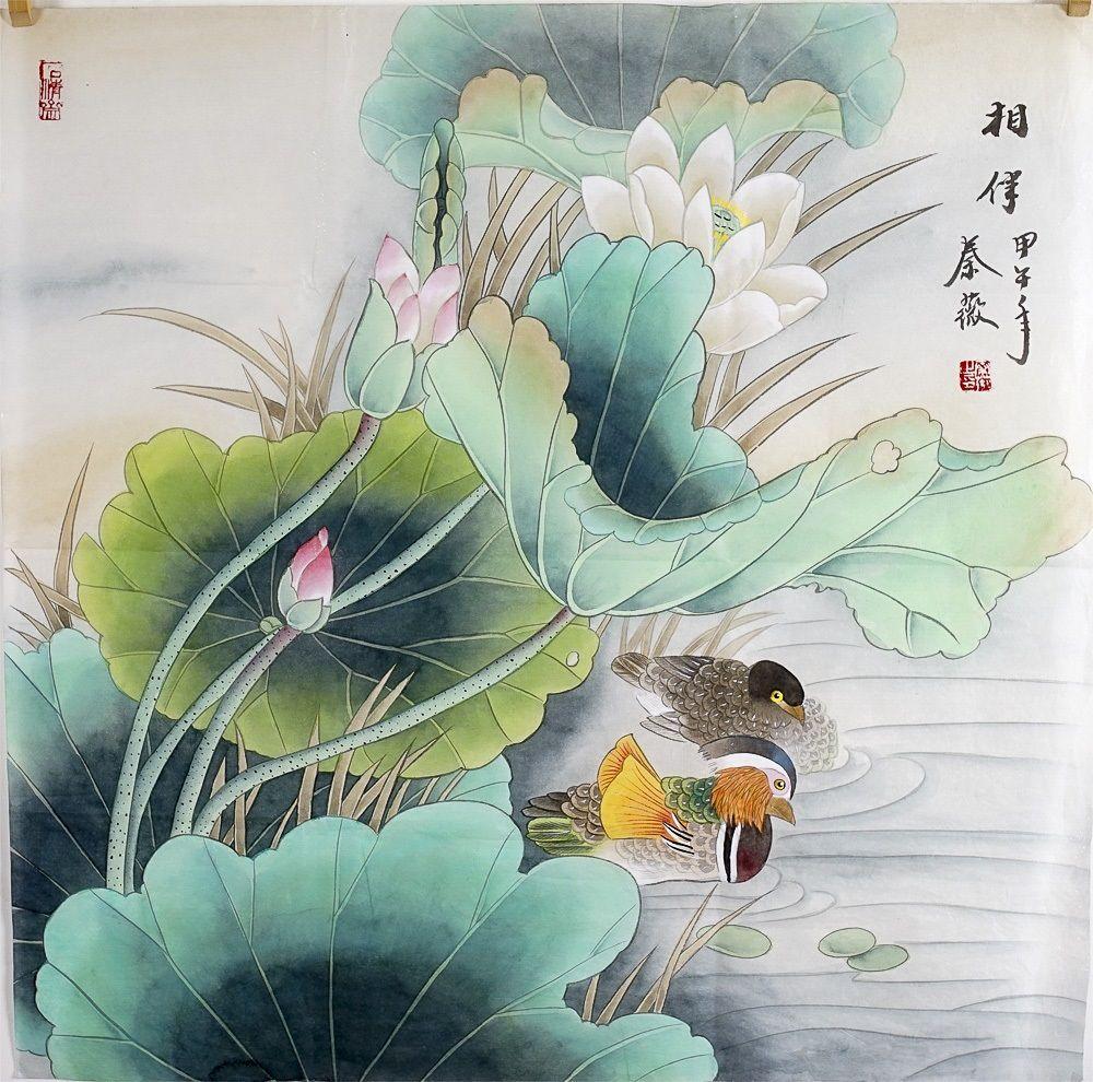 Chinese Painting Artwork Original Wall Art Lotus Flower Painting