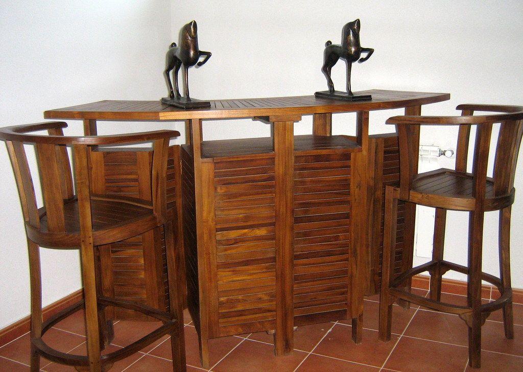 Barras de bar plegables en madera de teca natural en varios colores y acabados para su casa - Barra bar madera ...
