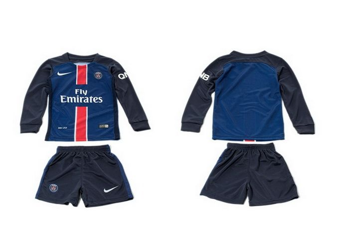 youth 2015 2016 psg home blue long sleeve soccer jersey