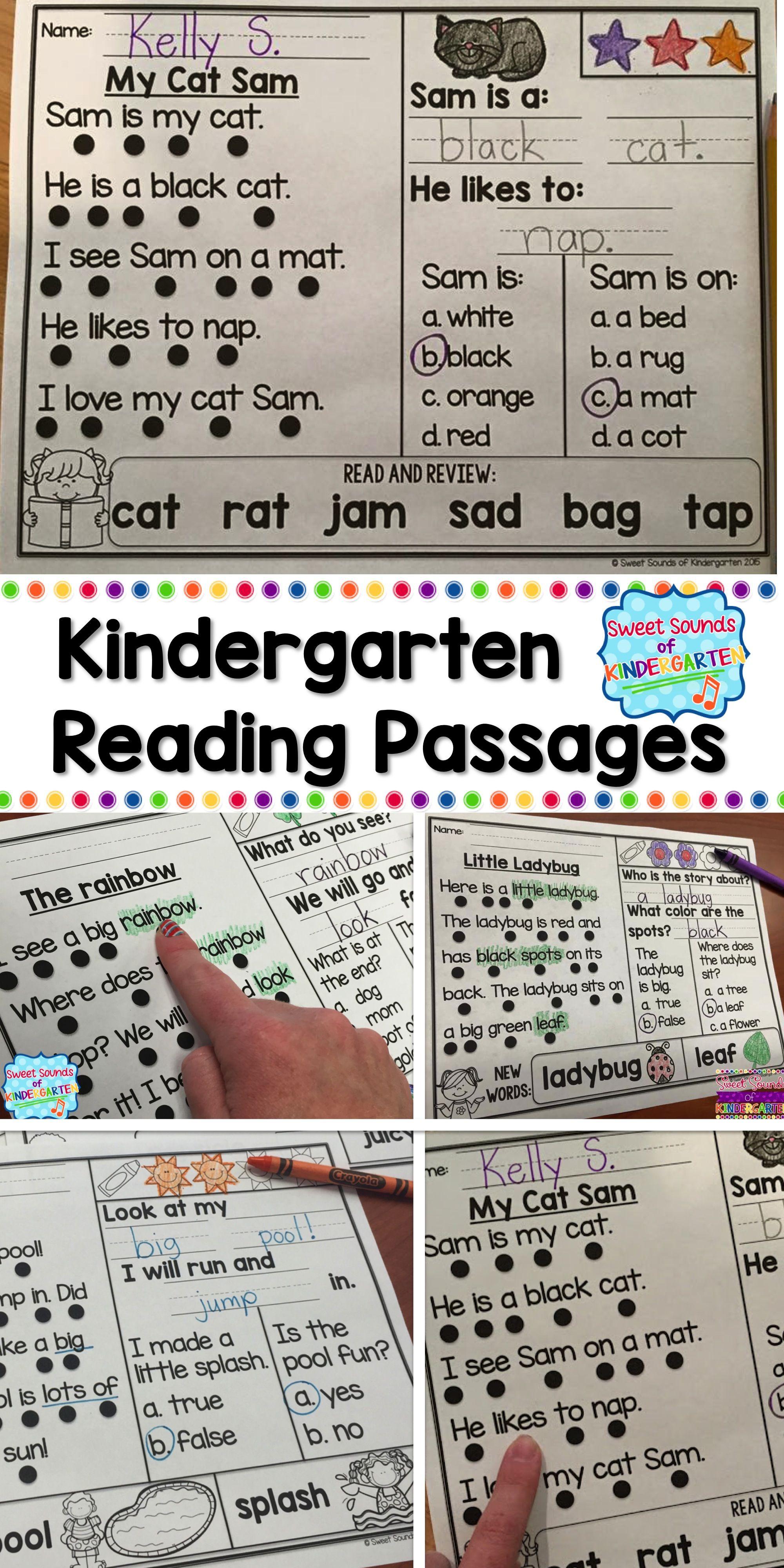 Kindergarten Reading Comprehension Passages Bundle