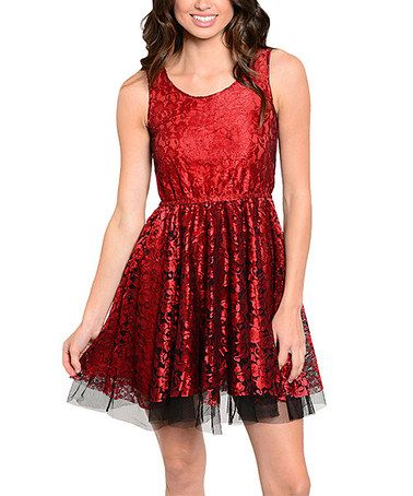 Another great find on #zulily! Red & Black Floral Dress #zulilyfinds
