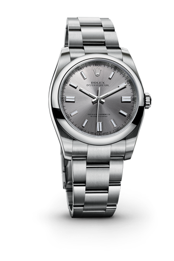 The new Rolex Oyster Perpetual 36 mm in 904L steel with a domed bezel, steel dial and Oyster bracelet