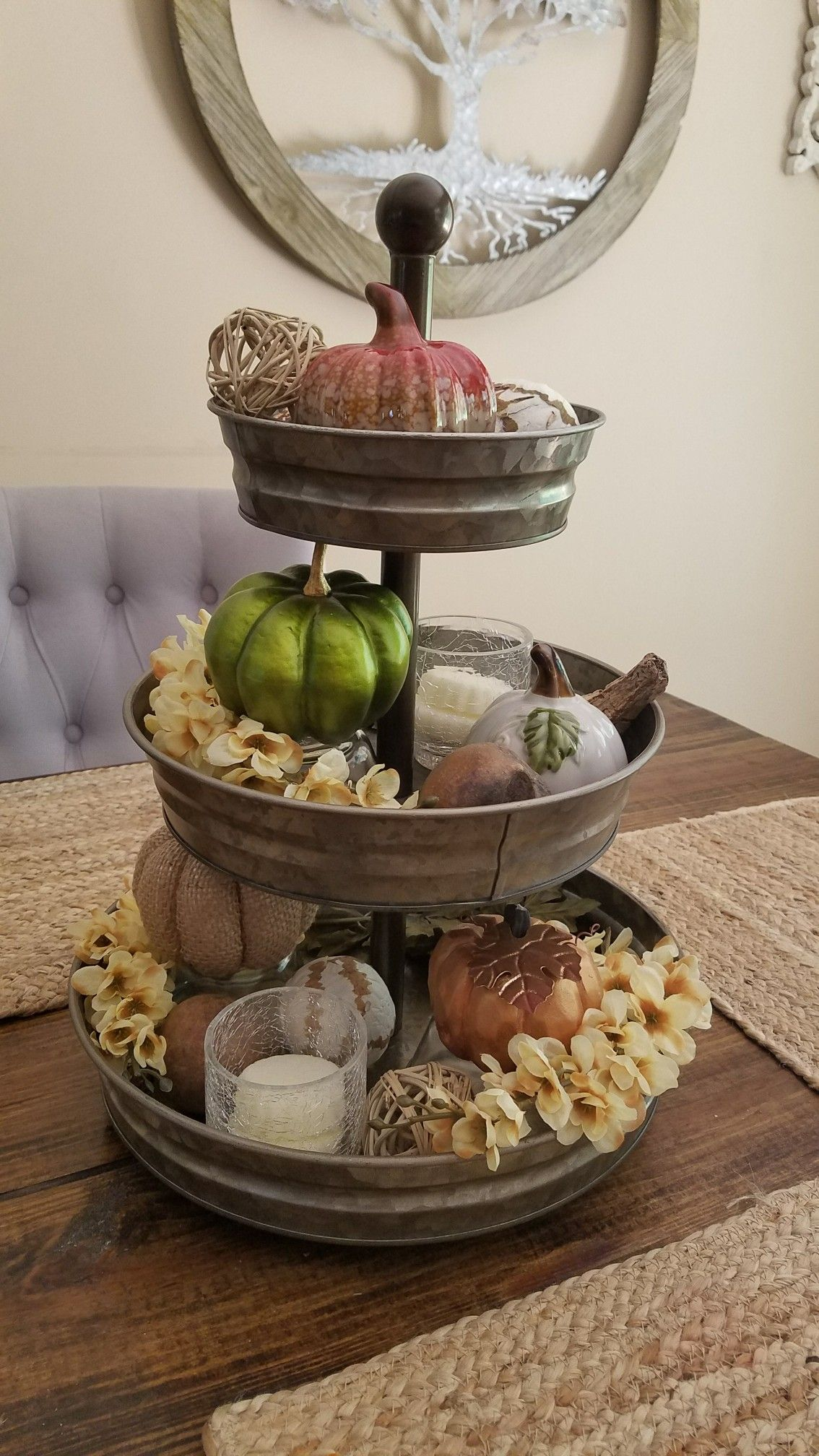 3 Tier Tray From Hobby Lobby With Fall Decor From The Dollar Tree Tray Decor Fall Decor Decor
