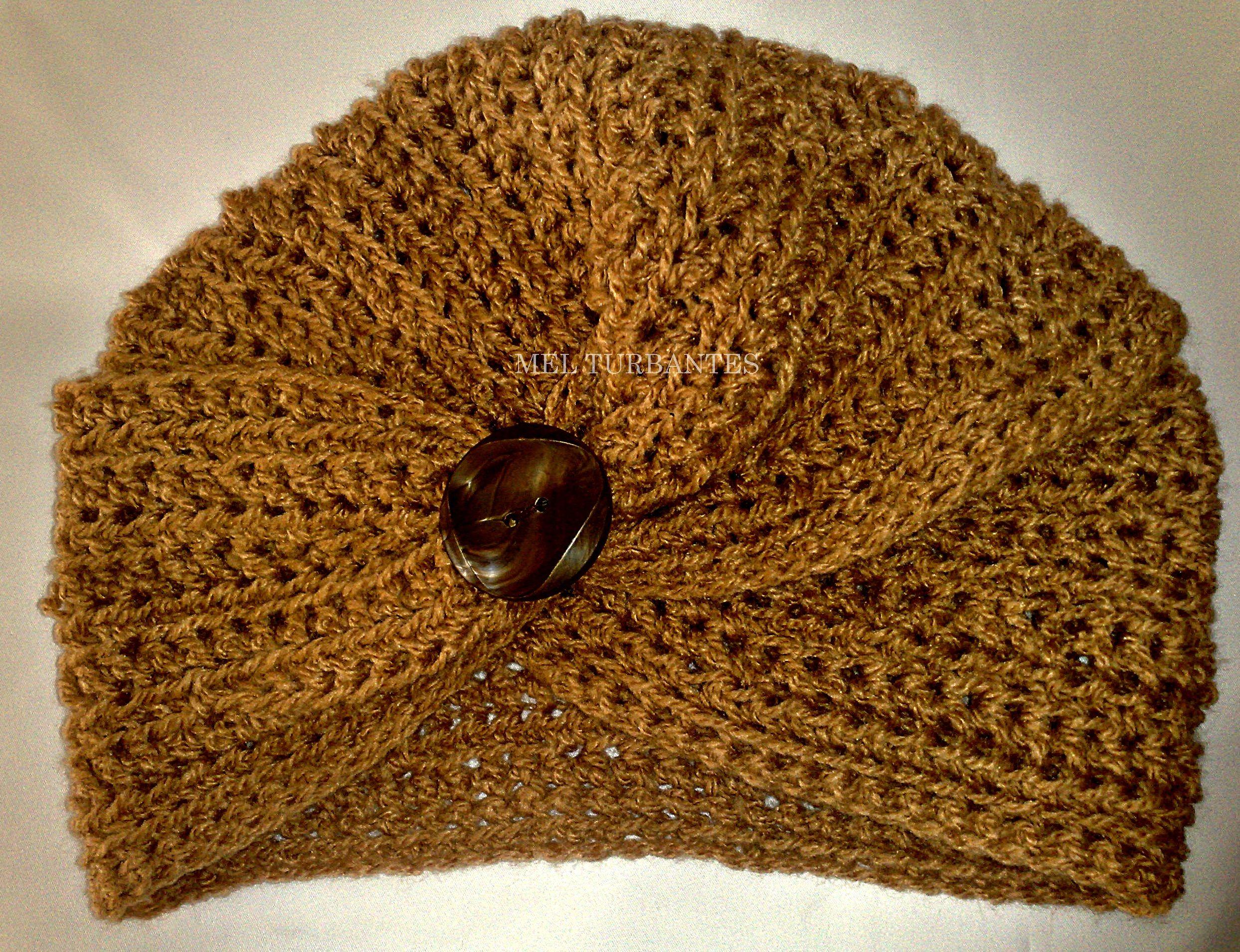 turbante color habano con detalle de botón | turbantes tejidos ...