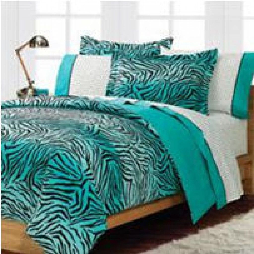 Teal turquoise blue and white zebra print bedroom ideas for Bedroom decor sets