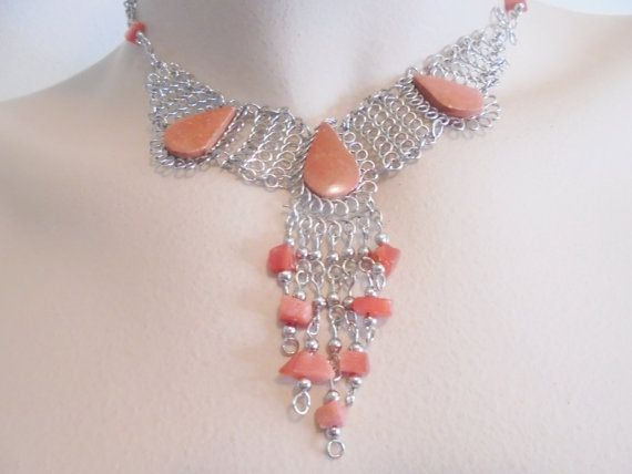 Vintage Pendant Necklace Chain Mesh Orange Glass / by KathiJanes