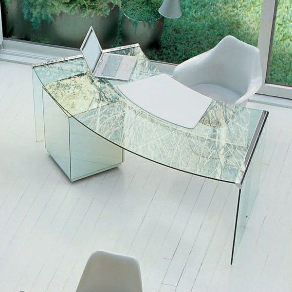Rounded Glass Writing Desk Work Office Spaces, Office Workspace, Work Desk,  Home Office