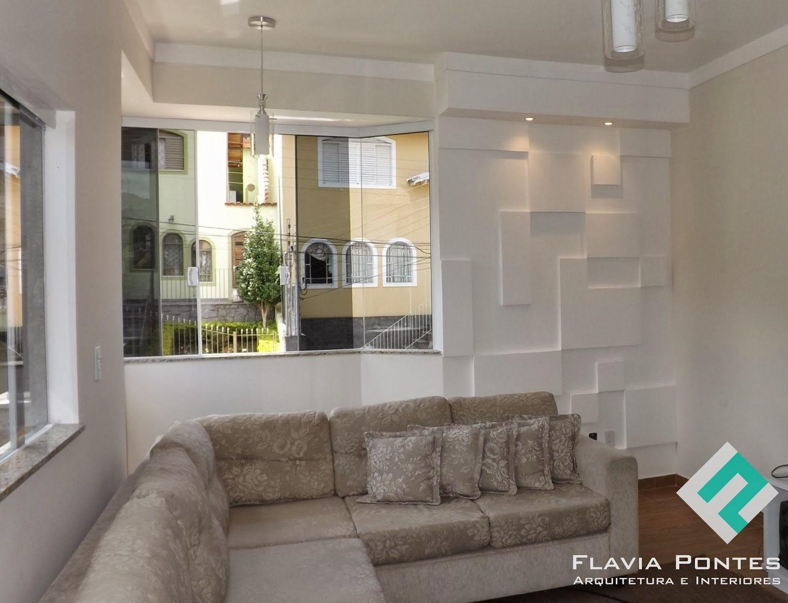 Parede Com Placas De Gesso Castelato Pinterest Arquitetura  -> Parede Sala Decorada Gesso