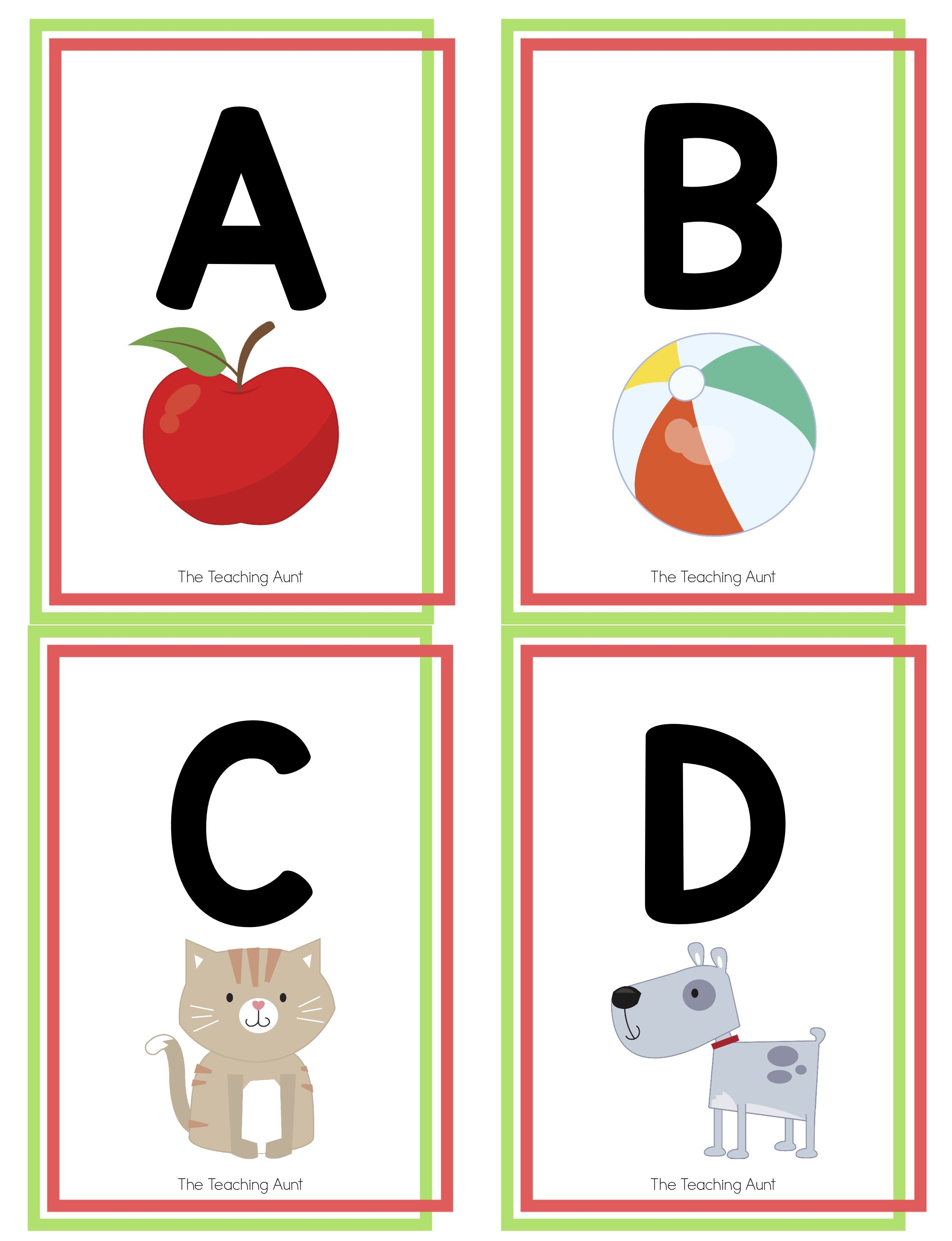 Alphabet Flashcards Free Printable The Teaching Aunt Alphabet Flashcards Printable Flash Cards Flashcards