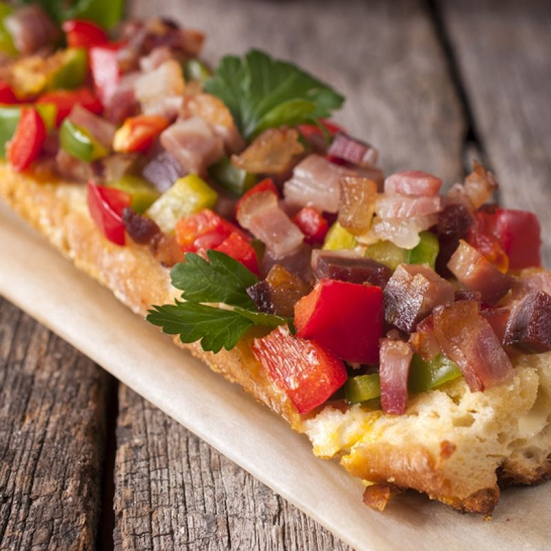 This roasted vegetables sandwich recipe is mixed with sliced bacon.. Open Faced Sandwich Recipe from Grandmothers Kitchen.