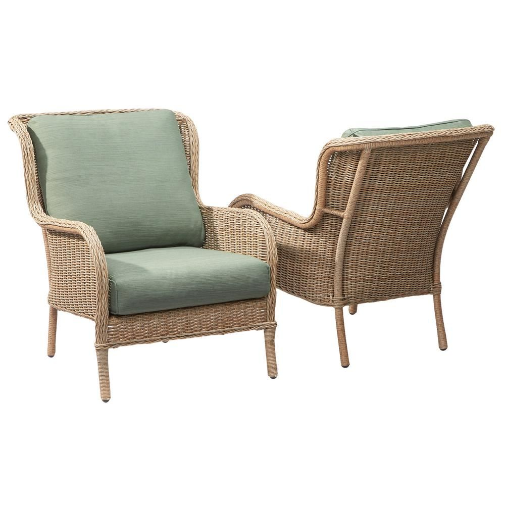 Bay outdoor furniture for your patio and garden hampton bay outdoor - Hampton Bay Lemon Grove Stationary Wicker Outdoor Lounge Chair With Surplus Cushion 2 Pack