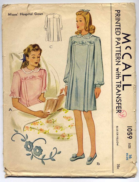 1940s Hospital Gown Pattern Bust 34 Vintage by PatternAndStitch ...