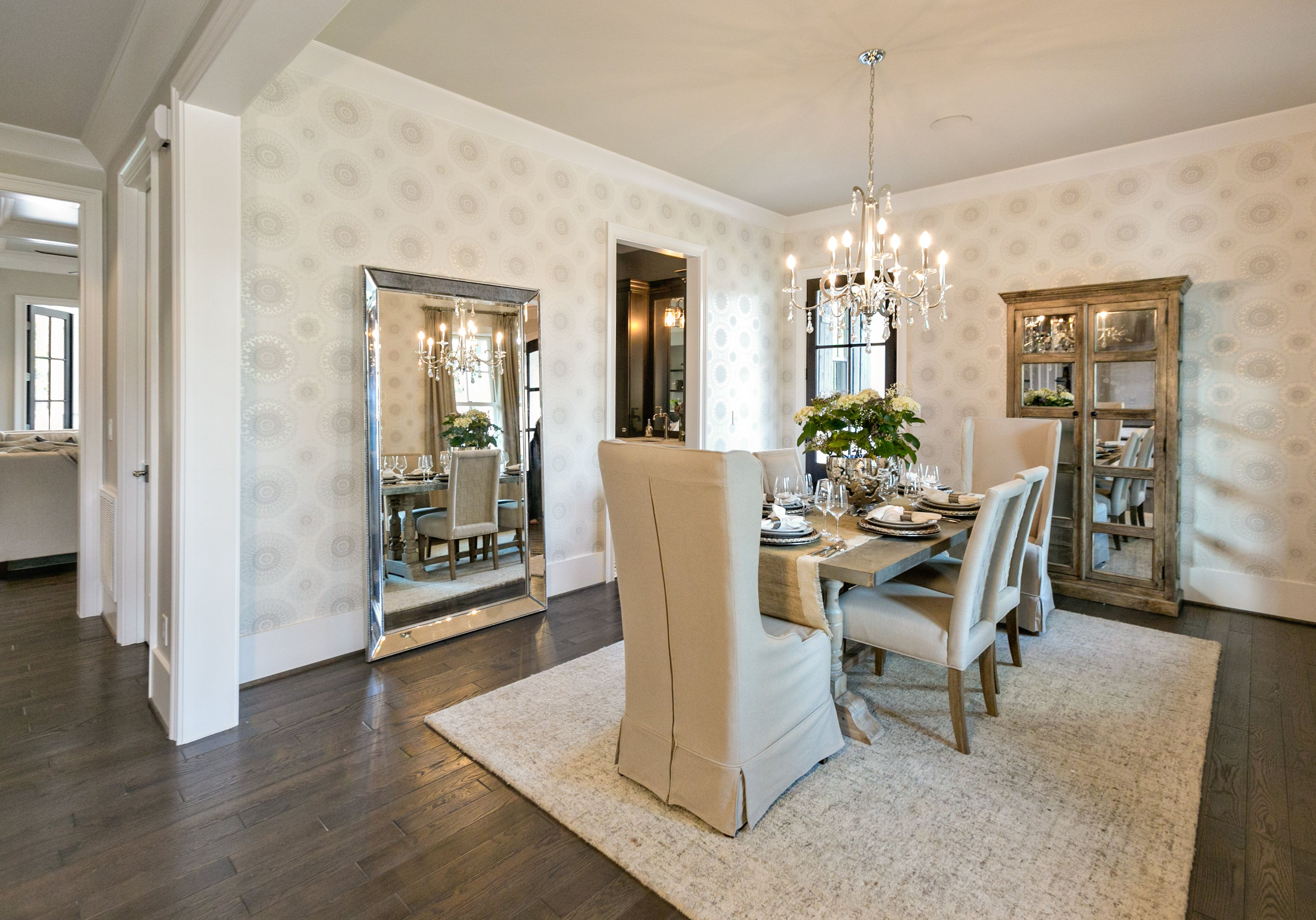 Neutral dining room with modern wallpaper # ...
