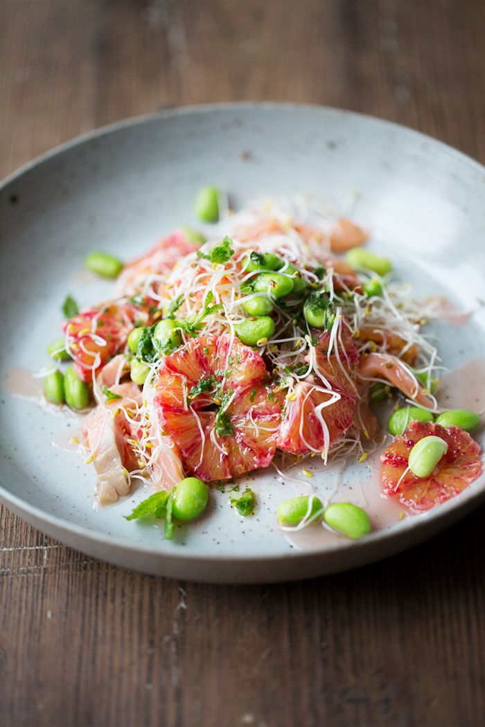 Blood Orange, Smoked Salmon and Edamame Salad with Mint Dressing | Dagmar's Kitchen