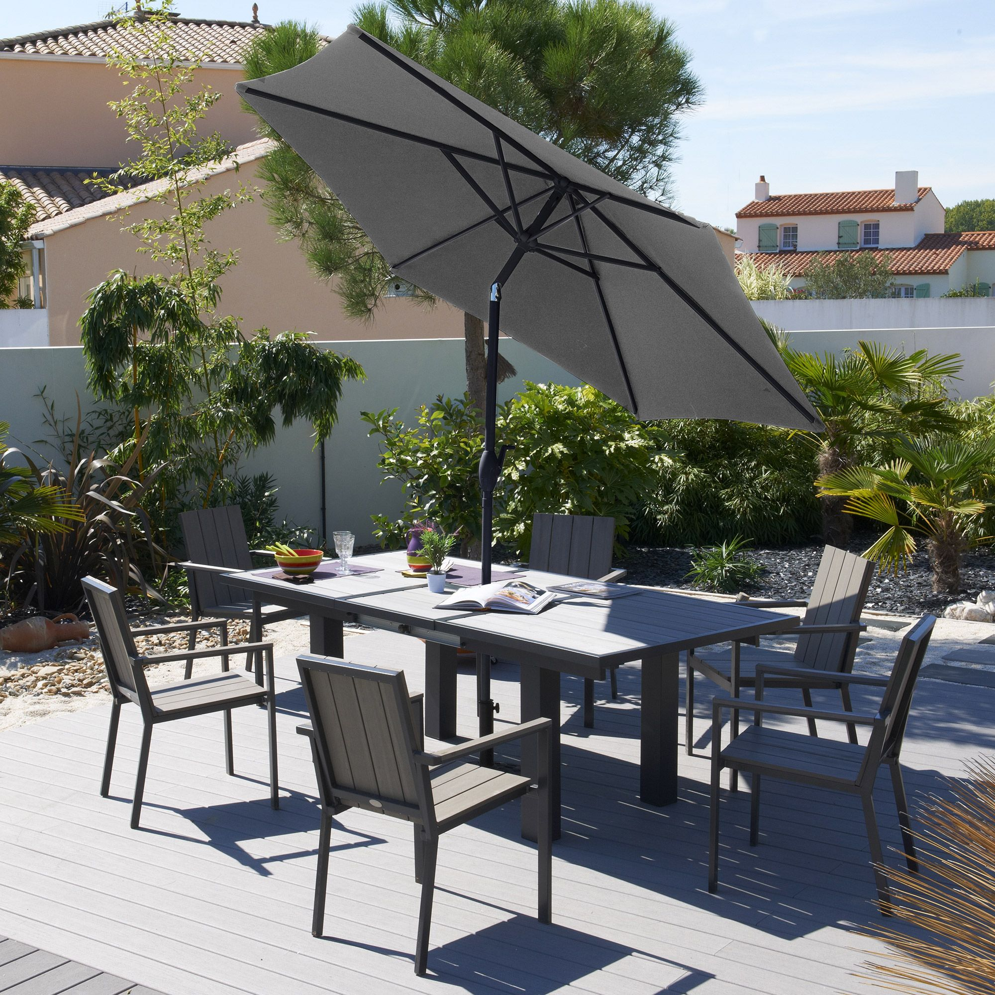 parfait pour cet t salon jardin 6 places aluminium bois composite 6 fauteuils sunithala. Black Bedroom Furniture Sets. Home Design Ideas
