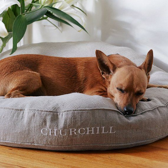Our Best Friend Personalized Dog Bed Cover Is Made To Order This Durable Round From 7 1oz Stone Washed Linen Sure Lasts For