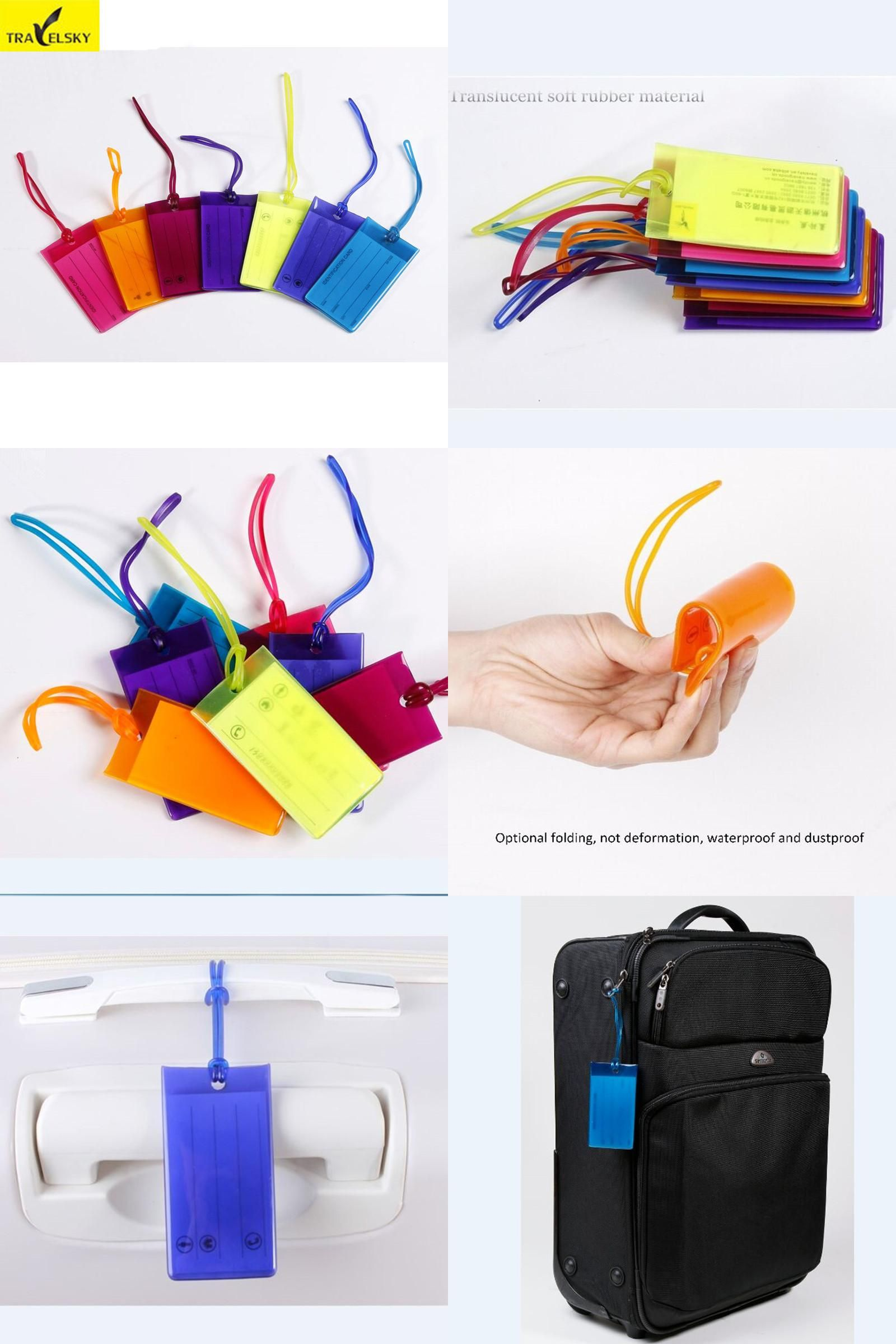 25e4787013bb  Visit to Buy  Luggage tag PVC material multicolor and mix fashion travel  bags tags