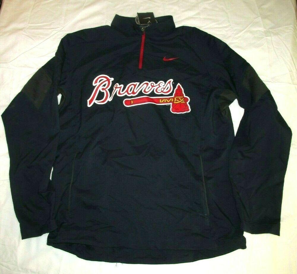 Nike Atlanta Braves Shield Hot Corner 1 4 Zip Pullover Jacket Mens M Navy Nike Atlantabraves Pullover Jacket Atlanta Braves Mens Jackets