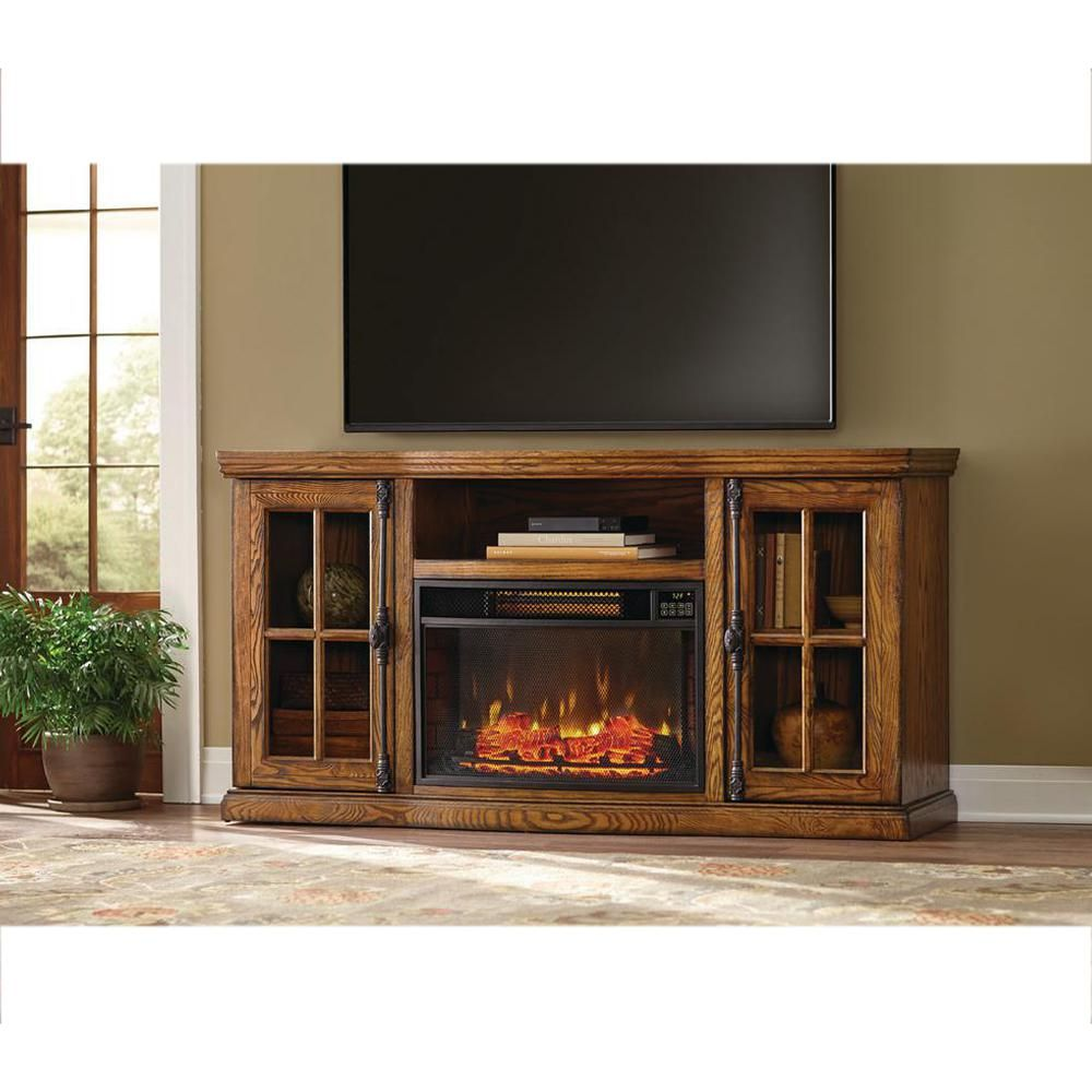 Home Decorators Collection Manor Place 67 In Bluetooth Electric Fireplace Tv Stand In Oak Bsf 1761 Oak The Home Depot Electric Fireplace Tv Stand Fireplace Tv Stand Home Decorators Collection