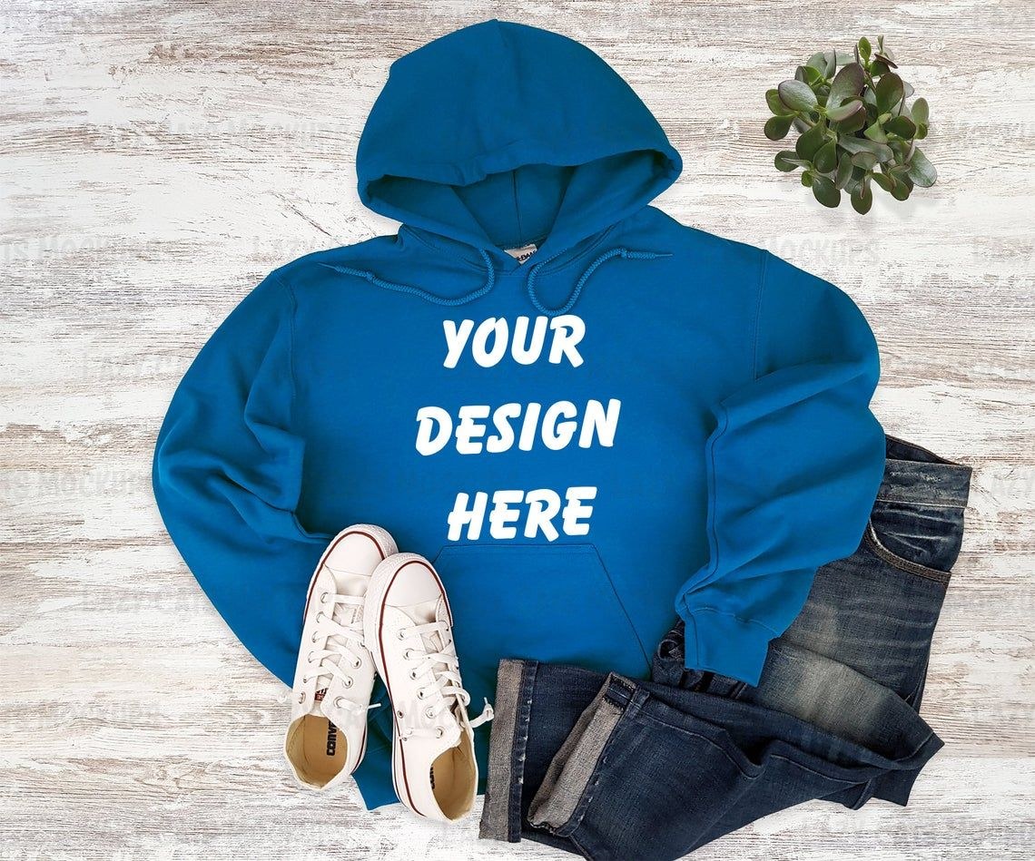 Download Royal Blue Hoodie Mockup Gildan 18500 Mock Up Sweatshirt Etsy