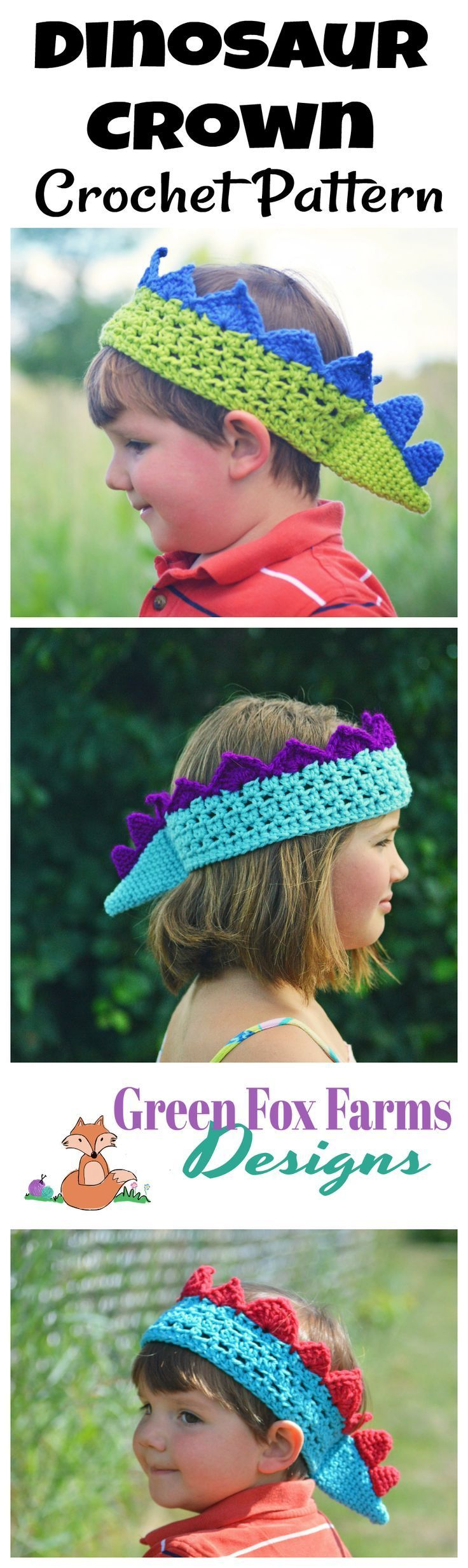 Crochet Dinosaur Crown Pattern Release! #crownscrocheted Crochet Dinosaur Crown - Dinosaur Birthday - DIY Dino Party - Party Crown - Crochet Pattern - www.greenfoxfarmsdesigns.com #crownscrocheted