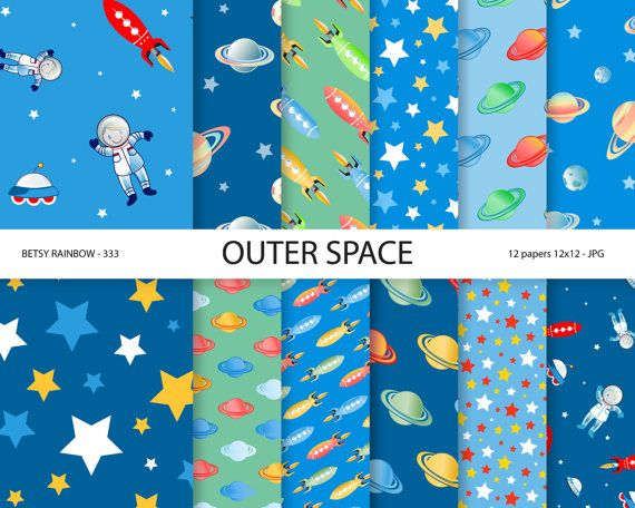 Space paper pack, space digital paper, astronaut party paper, scrapbook paper, rocket, outer space - BR 333