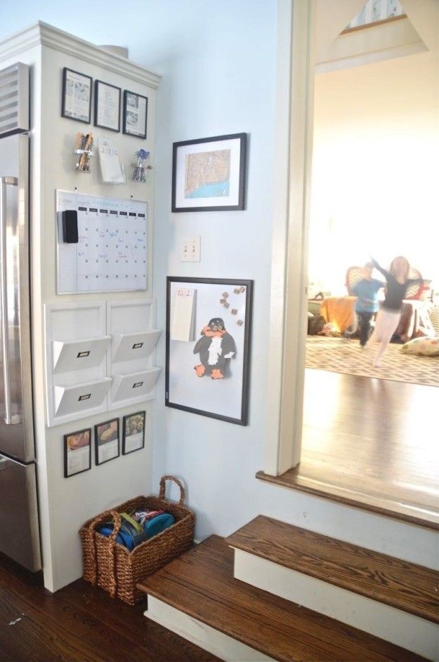 Transform An Unused Corner Or The Side Of Your Fridge Into A Family Command Center Complete With Calendar Dry Erase Markers To Do Lists And More In 2020 Home Command Center Kitchen Cabinet