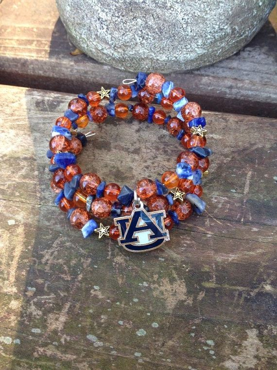 Auburn University Tigers War Eagle Bling Three Wrap Memory Wire Beaded Bracelet