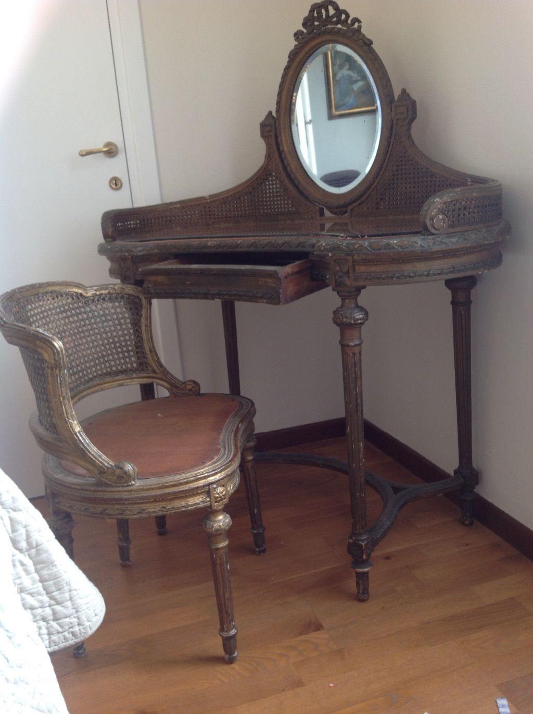 Antica toilette petineuse francese 800,mobile con specchio e