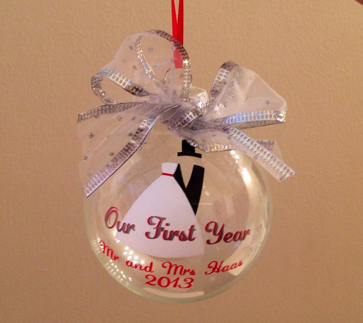 First Year Married Christmas Ornament by PYdesigned on Etsy