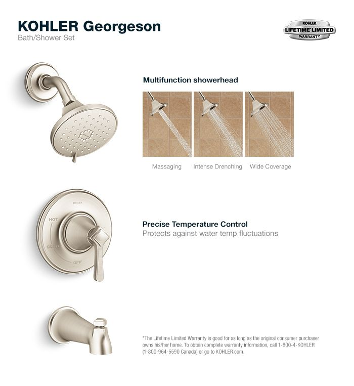 Kohler Georgeson 1 Handle Tub And Shower Faucet In Vibrant Brushed